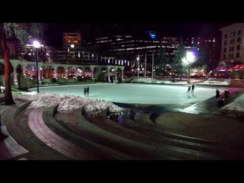 At Olympic Plaza tonight, #yycglow light fixtures. S'neat.