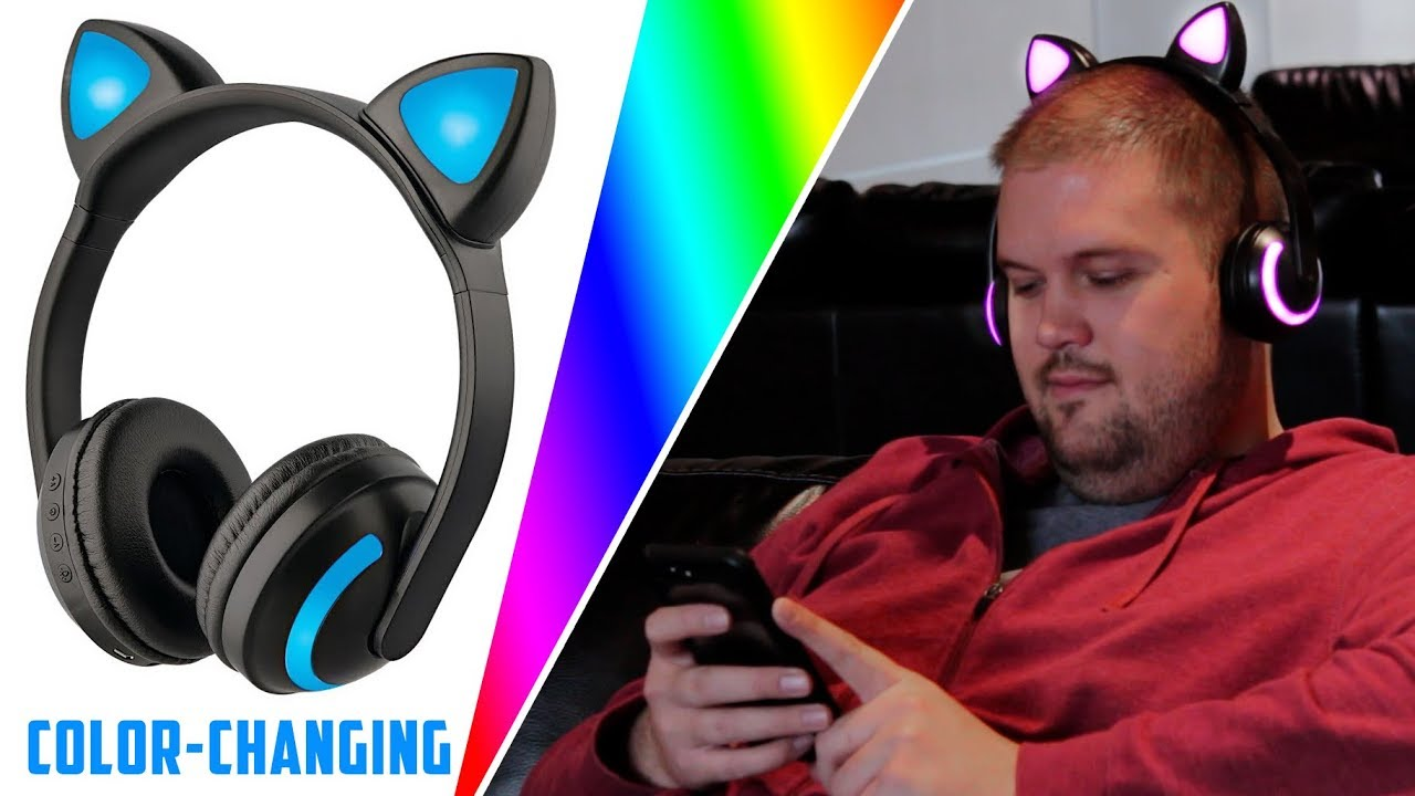 Bluetooth Color Changing Cat Ear Headphones By Soundlogic Youtube