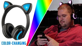 Bluetooth Color-Changing Cat Ear Headphones by Soundlogic