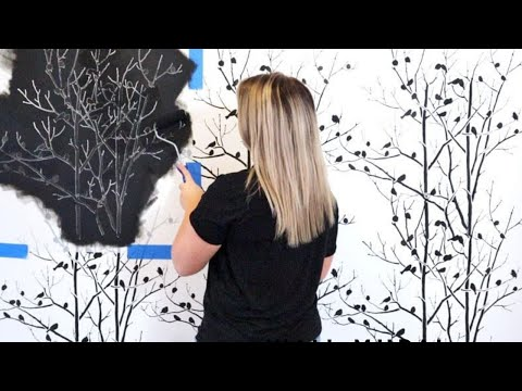 How To Stencil A Nature Inspired Accent Wall That Looks Like Wallpaper!