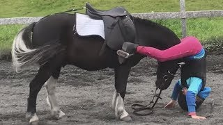 Gentle Pony Helps Girl Who Falls Off After Fence Jump (Storyful, Animals)