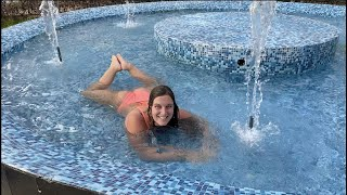 Swimming Underwater and Splashing in a Fountain