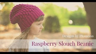 Crochet Raspberry Slouch Beanie Tutorial