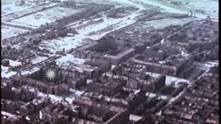 Aerial view of the Tempelhof Aerodrome and bomb damaged buildings in Berlin, Germ...HD Stock Footage