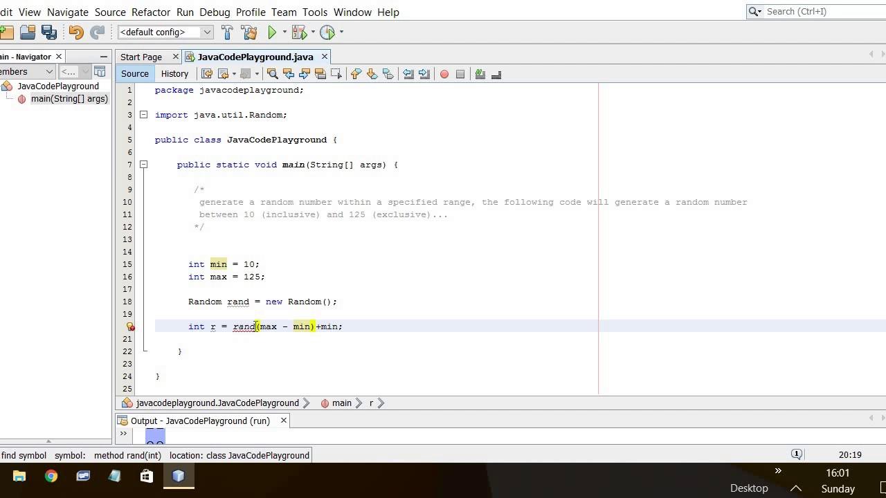 Java Beginner - generate random number in a range