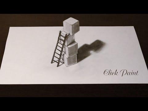 Как нарисовать 3D простым карандашом ЛЕСТНИЦА и КУБИКИ (лестницу 3D)