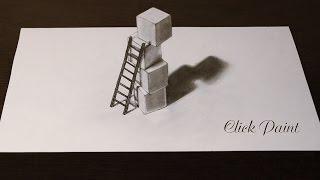 Как нарисовать 3D простым карандашом ЛЕСТНИЦА и КУБИКИ (лестницу 3D)(Не сложный 3D рисунок простым карандашом . Иллюзия или обман зрения которую вы легко сможете повторить сами...., 2016-04-09T00:51:23.000Z)
