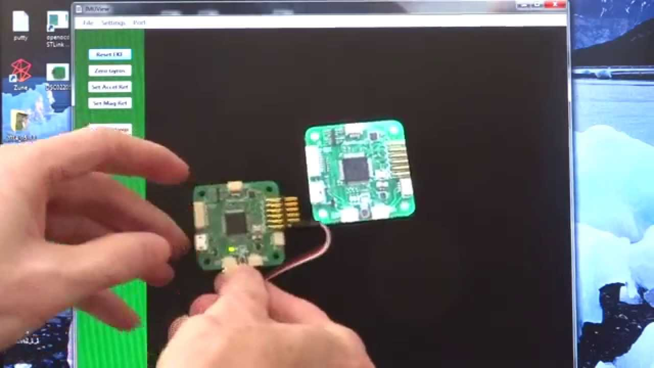 Kalman filter/IMU demo on quadcopter controller