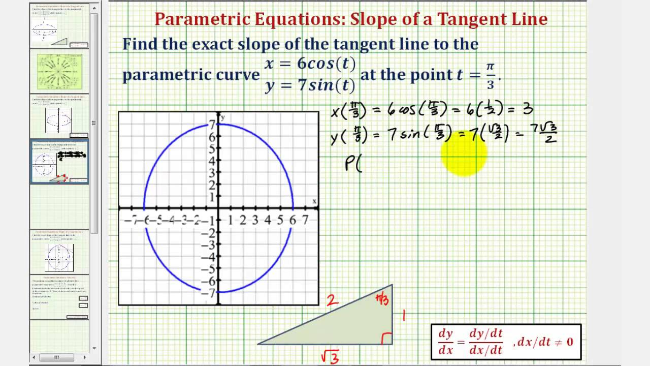 Ex 2: Find The Slope Of A Tangent Line To A Curve Given By Parametric  Equations