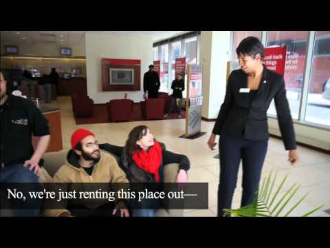 Occupiers set up living room in Bank of America lobby