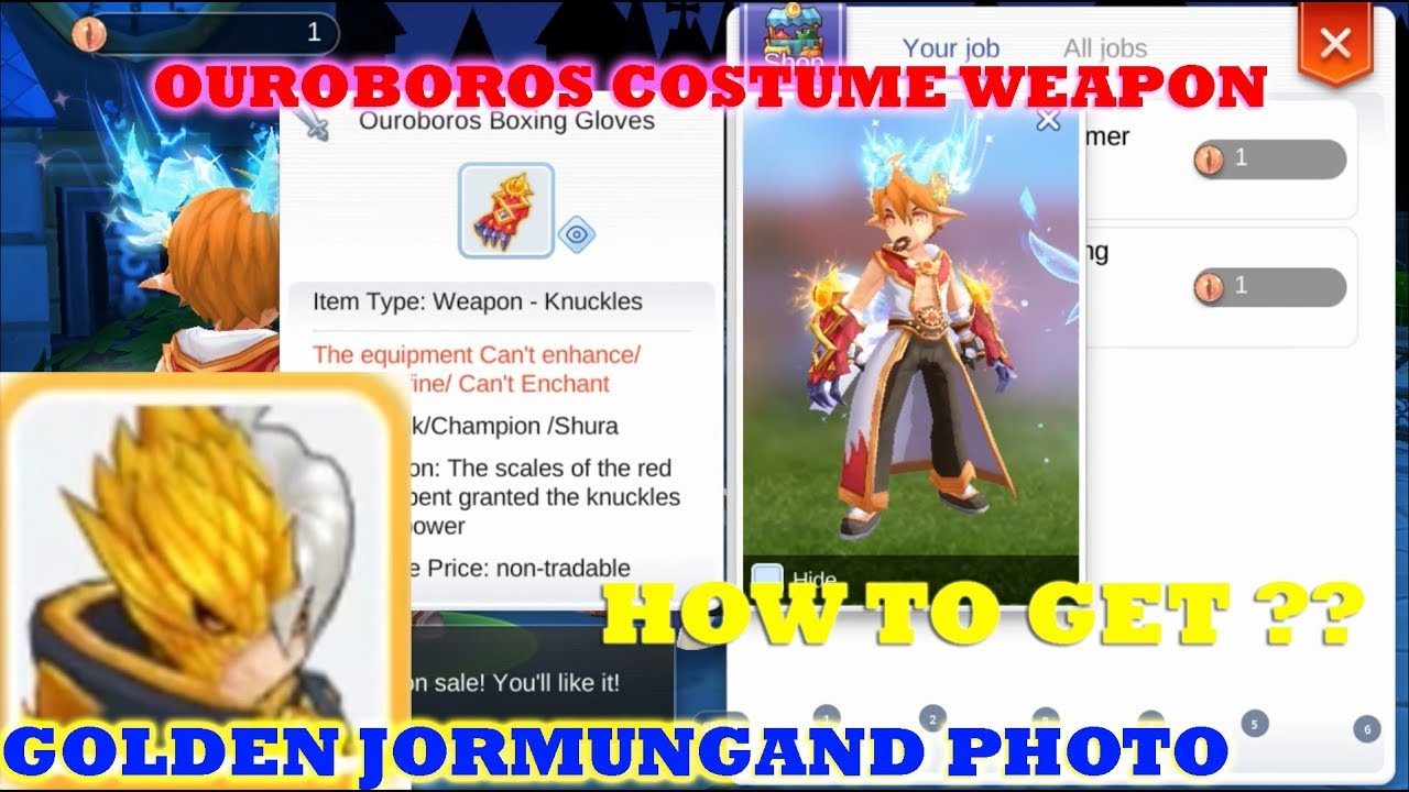 HOW TO GET OUROBOROS COSTUME WEAPON & GOLDEN JORMUNGAND PHOTO - RAGNAROK  MOBILE ETERNAL LOVE