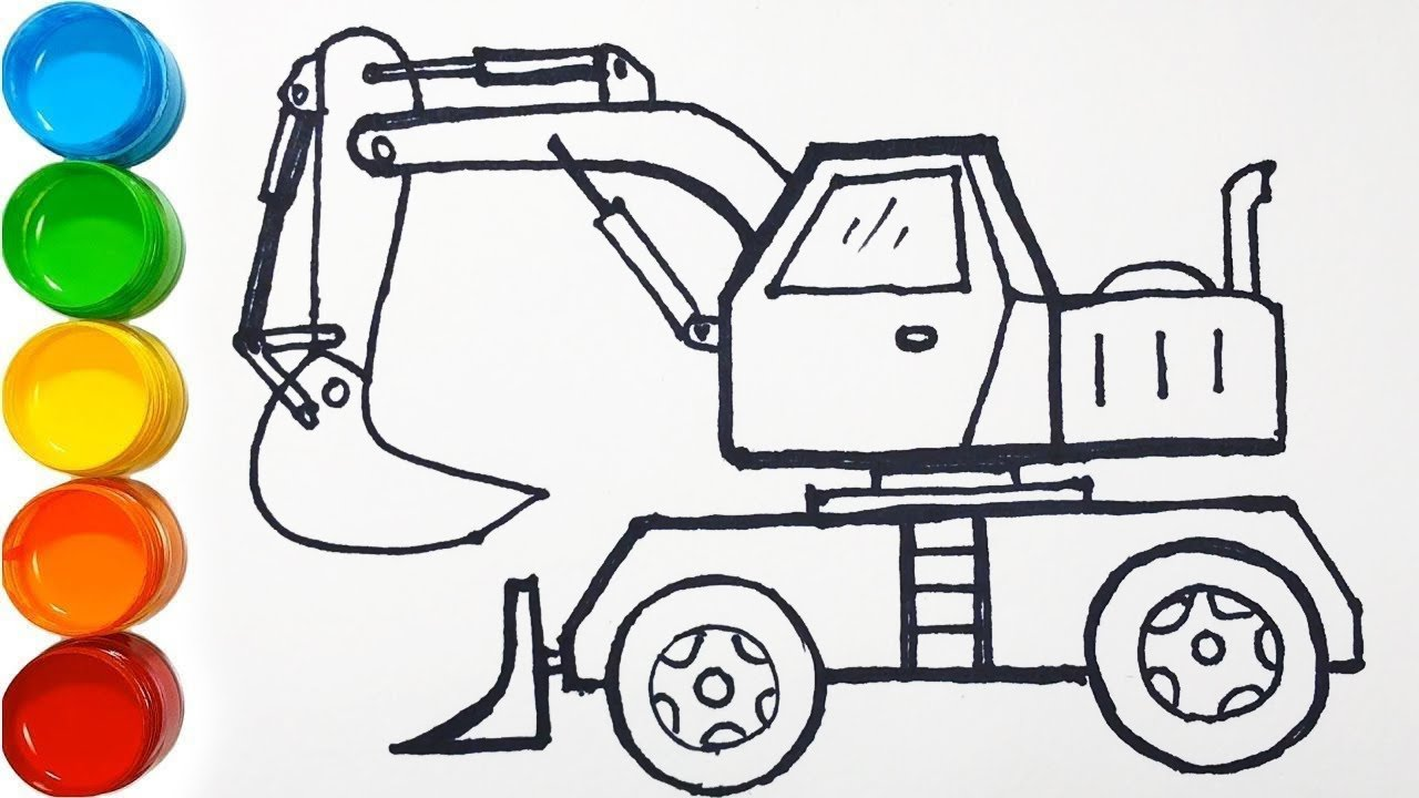 Vẽ xe xúc xe ủi đơn giản và tô màu cho bé   Bé học vẽ  Cara Menggambar dan Mewarnai Mainan Excavator