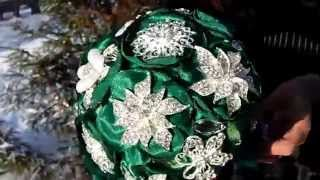 Изумрудный брошь букет невесты.