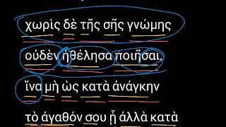 Филимону 14. Уроки древнегреческого. Читаем и разбираем Новый Завет