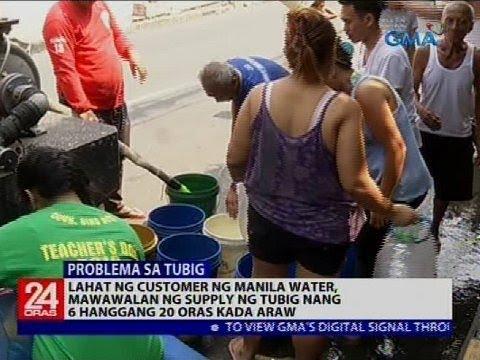 Lahat ng customer ng Manila Water, mawawalan ng supply ng tubig nang 6 hanggang 20 oras kada araw