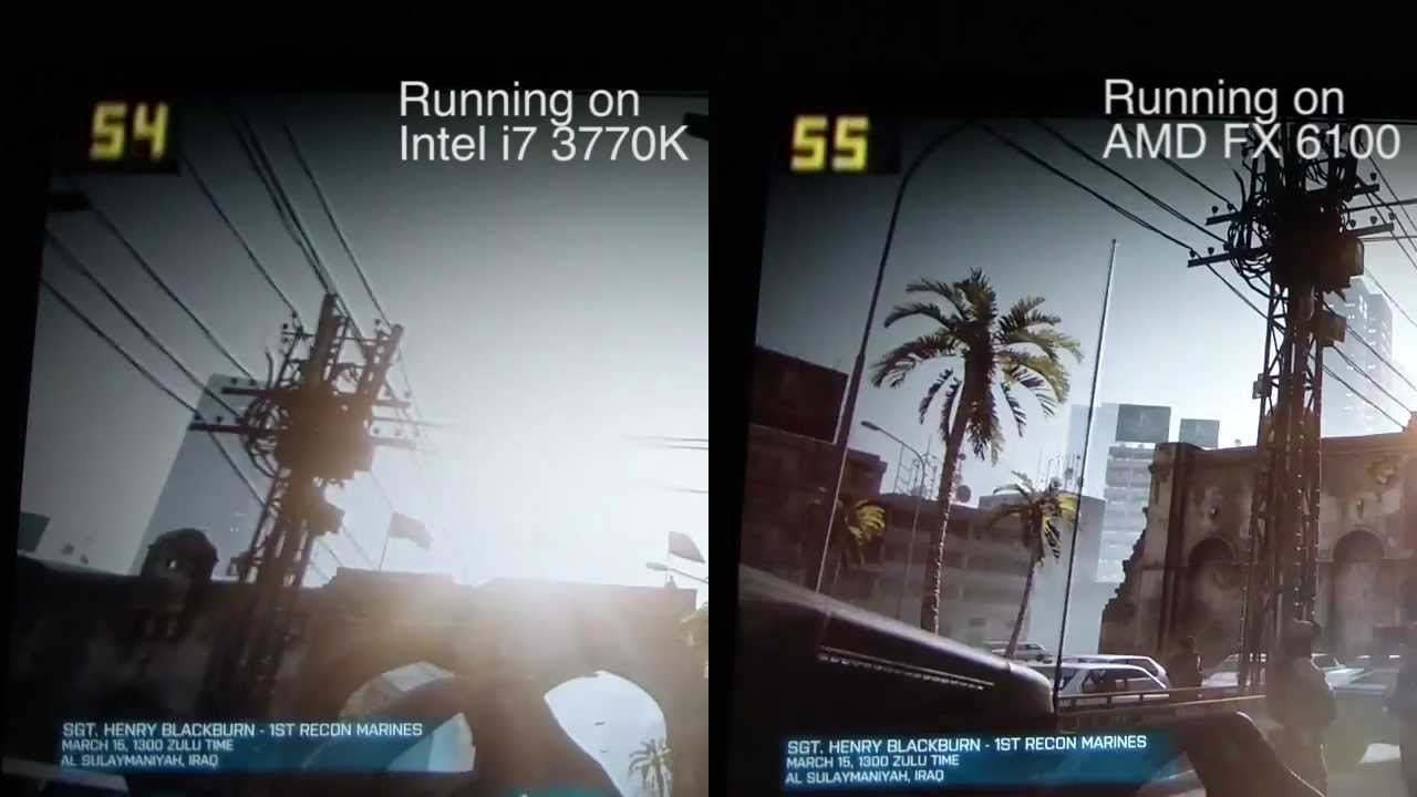 Intel Vs Amd Gaming Battlefield 3 Hd Youtube