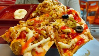 PIZZA PARATHA | Chicken Cheese Paratha with Loaded Ingredients | Street Food of Karachi Pakistan