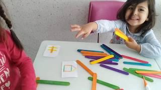 Ayşe Ebrar ve Asel Renkli Çubuklarla Çok Güzel Şekiller Yaptı!!