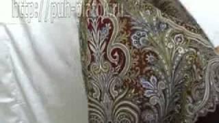 How To Tie a shawl Павловопосадский платок шаль(http://puh-platok.ru/ интернет магазин Красивый Павловопосадский платок шерстяной с шелковой бахромой