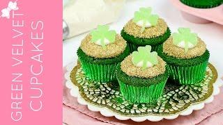 St. Patrick's Day Green Velvet Cupcakes with DIY Shamrocks // Lindsay Ann Bakes