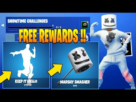 SHOWTIME EVENT REWARDS + CHALLENGES (KEEP IT MELLO , MARSHY SMASHER ) Marshmello Fortnite