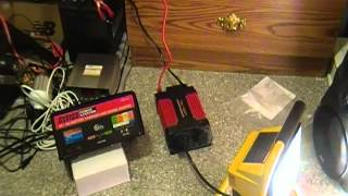 12v power Inverter connected to a battery charger running a 500 watt appliance
