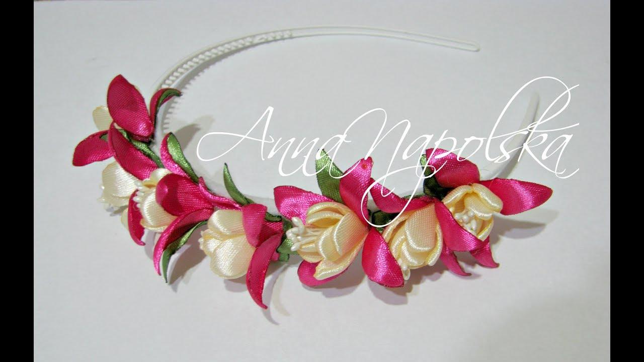 Цветы на ободок своими руками канзаши фото 102