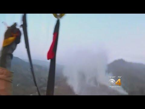 Smokejumper Dives Towards Colorado Wildfire