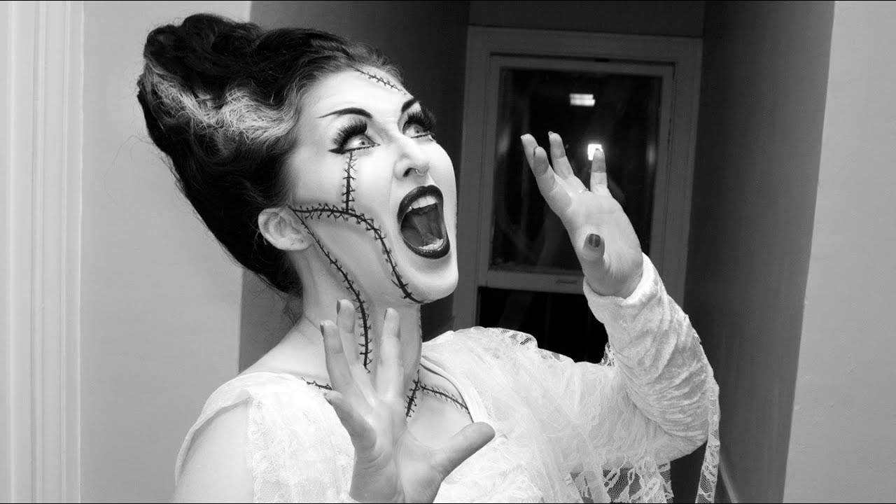 Bride of Frankenstein Black and White Makeup AND Hair Tutorial ...