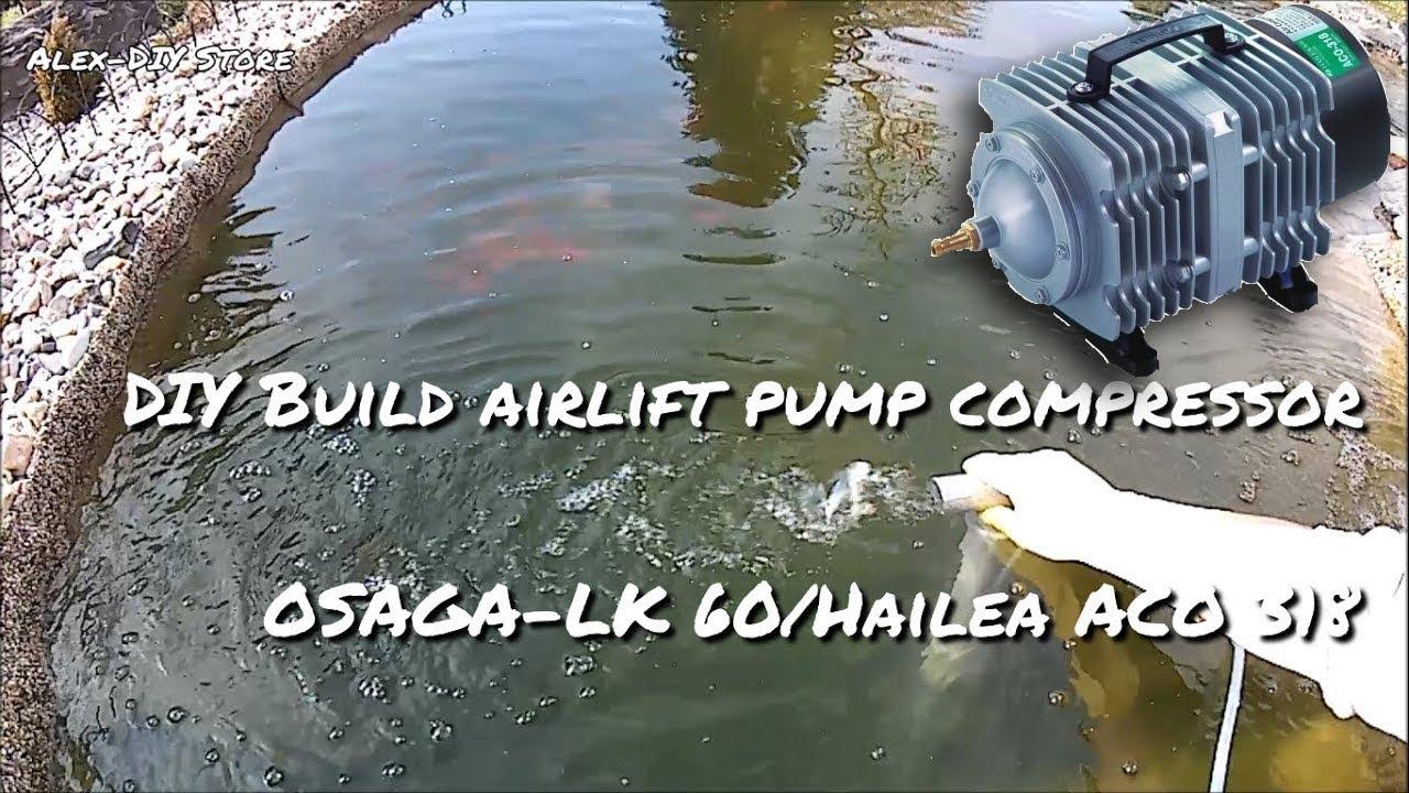 Diy Build Airlift Pump Compressor Osaga Lk 60 Hailea Aco 318 Youtube