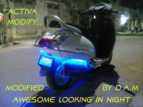 Honda Activa Modification | blue LED lights | nice looking in night