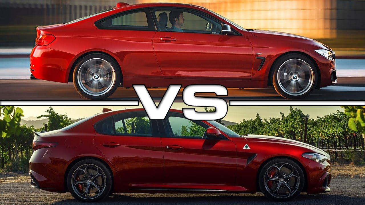 bmw 4 series coupe vs alfa romeo giulia youtube. Black Bedroom Furniture Sets. Home Design Ideas