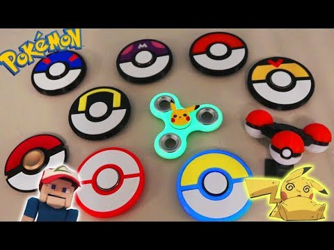 FIDGET Spinners POKEMON Top 10 Rare Unique Pokeball Toy Hand Tricks Hack GLOW IN DARK Ball Pikachu