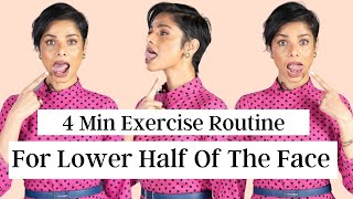 4 Minute Face Exercise Routine to FIRM UP CORNERS OF MOUTH and DOUBLE CHIN