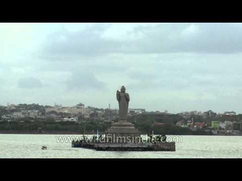 Giant monolith of lord Buddha in Hussain Sagar Lake, Hyderabad