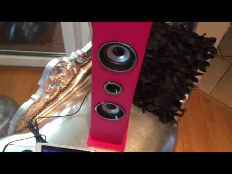 auna Karaboom Karaoke Anlage für Kinder (Bluetooth, MP3-fähiger USB-Port, AUX-IN, 2 x Mikrofon) pink