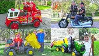 Kids Ride On Fire Engines, Police Cars, Dump Trucks and More
