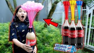EKSPERIMEN Masukin Balon AIR Ke-dalam Coca COLA Penuh MENTOS **WOW!! Bisa BEGINI Keren Abis!!***