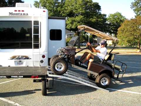 Loading Golf Cart on 5th Wheel - YouTube