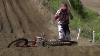 EMX250 of Finland 2014 Brent van Doninck Crash - Motocross