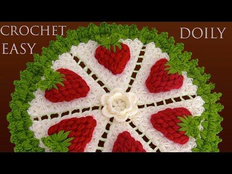 CENTRO DE MESA A CROCHET Punto Jazmín tejido paso a paso con fresas 3D y borde de hojas