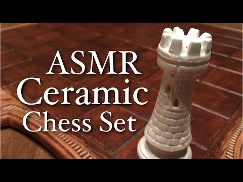 ASMR Ceramic Chess Set (unboxing, cardboard, ceramic sounds, soft speaking)