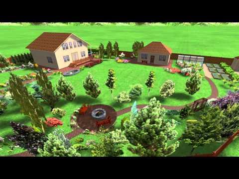 Эскизный проект ландшафтного дизайна участка 20 соток с небольшим уклоном.