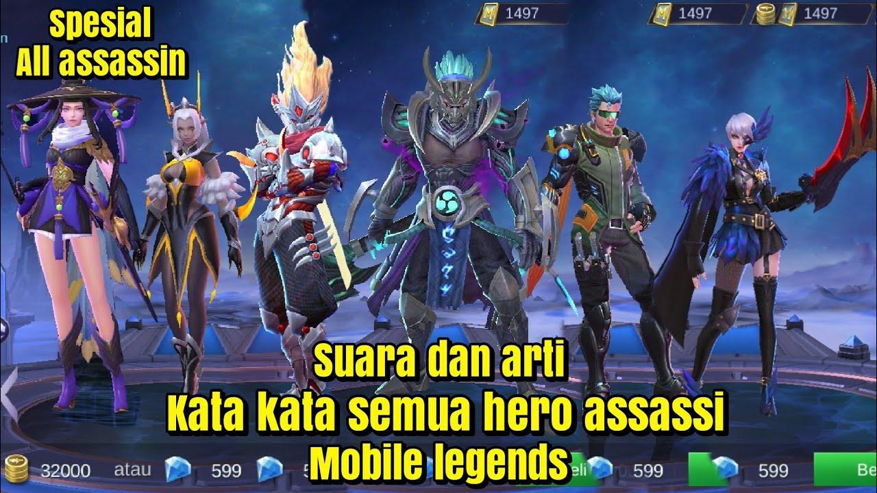 Suara dan arti kata kata semua hero assassin~mobile ...