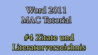 Abschlussarbeit in Word 2011 am Mac (#4): Zitate und Literaturverzeichnis