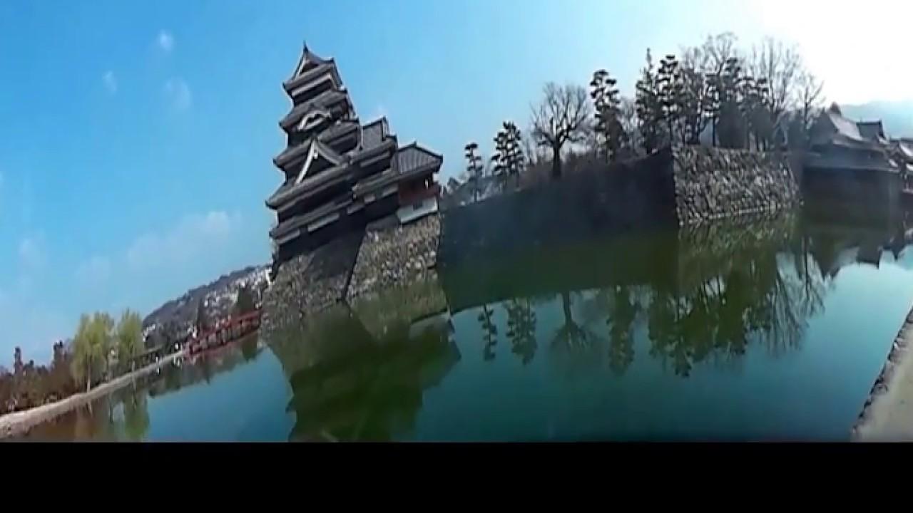 VR 五分咲きの松本城の桜。全周動画にチャレンジしました。'17 .04.14injected