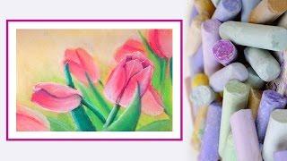 Видео урок Рисуем Пастелью Тюльпаны #Dari Art