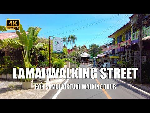 Koh Samui Lamai walking street | 4K Walking tour - Streets of Thailand 2021
