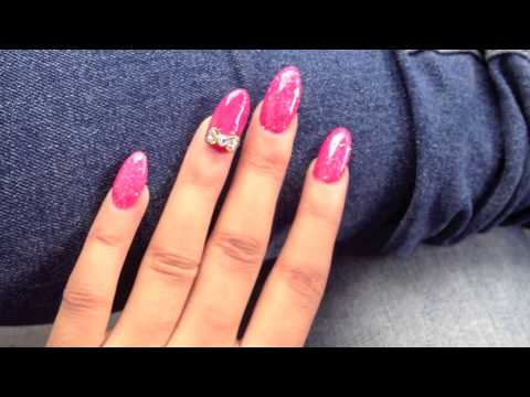 Hot Pink Glitter Acrylic Nails