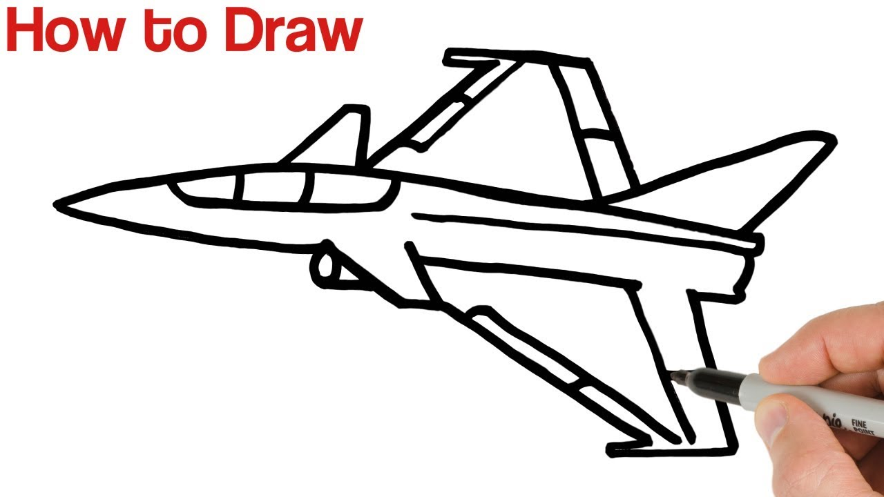 How To Draw A Fighter Jet Airplane Step By Step Youtube